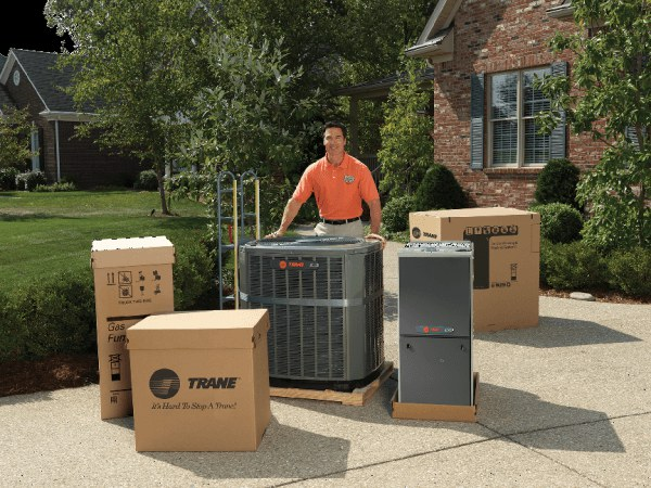 A Professional installer prepares to install a new Air Conditioning System in a home