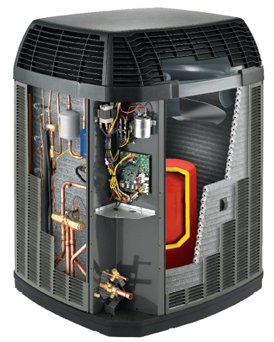 A cutaway image of a Trane Heat Pump