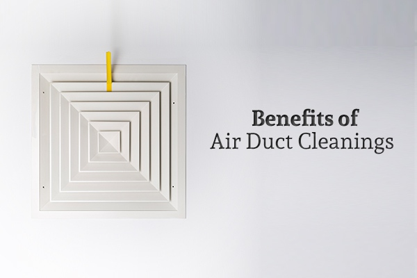 "An air vent on the ceiling beside the words ""Benefits of Air Duct Cleanings"""
