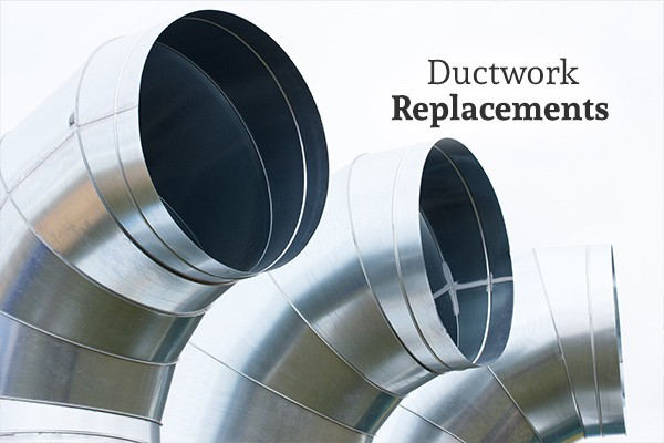 "A picture of 3 air ducts under the words ""Ductwork Replacements"""