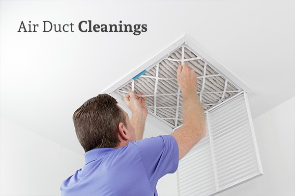 A man replacing an air duct filter beneath the words Air Duct Cleanings