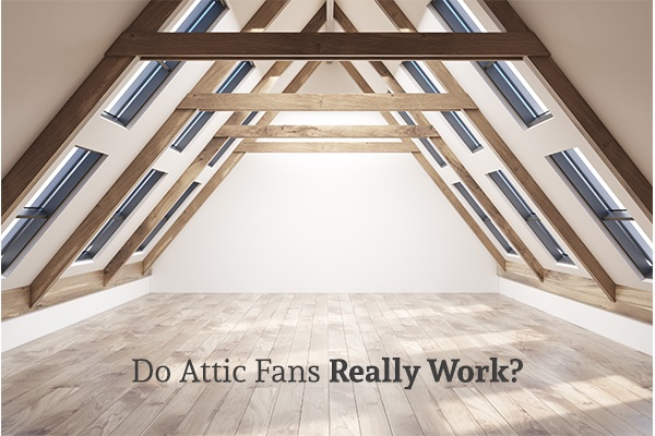A view of an empty attic with light coming in through the built in skylights. On the bottom center it reads, do attic fans really work?