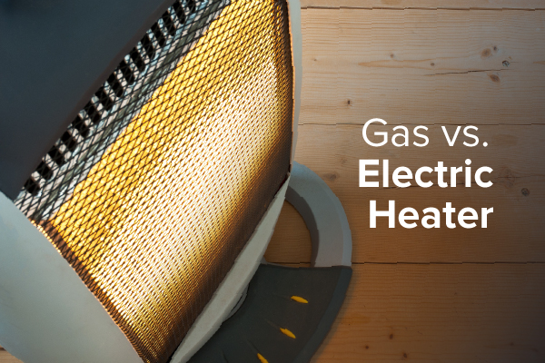 "An electric heater with the words, ""gas vs. electric heater."""