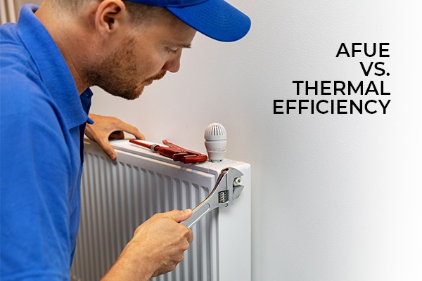 A hvac technician working on a air conditioning unit with the words, AFUE vs. thermal efficiency.